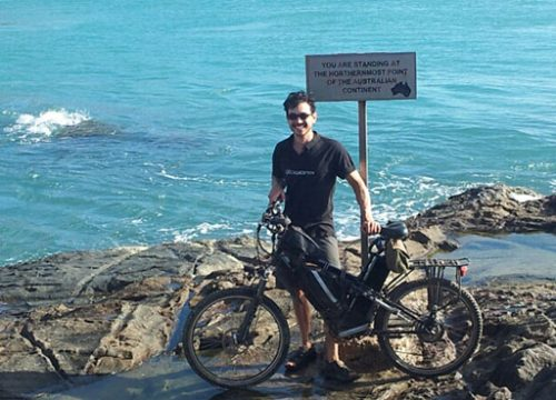 Maurice at Cape York with an eZee Forza electric bike